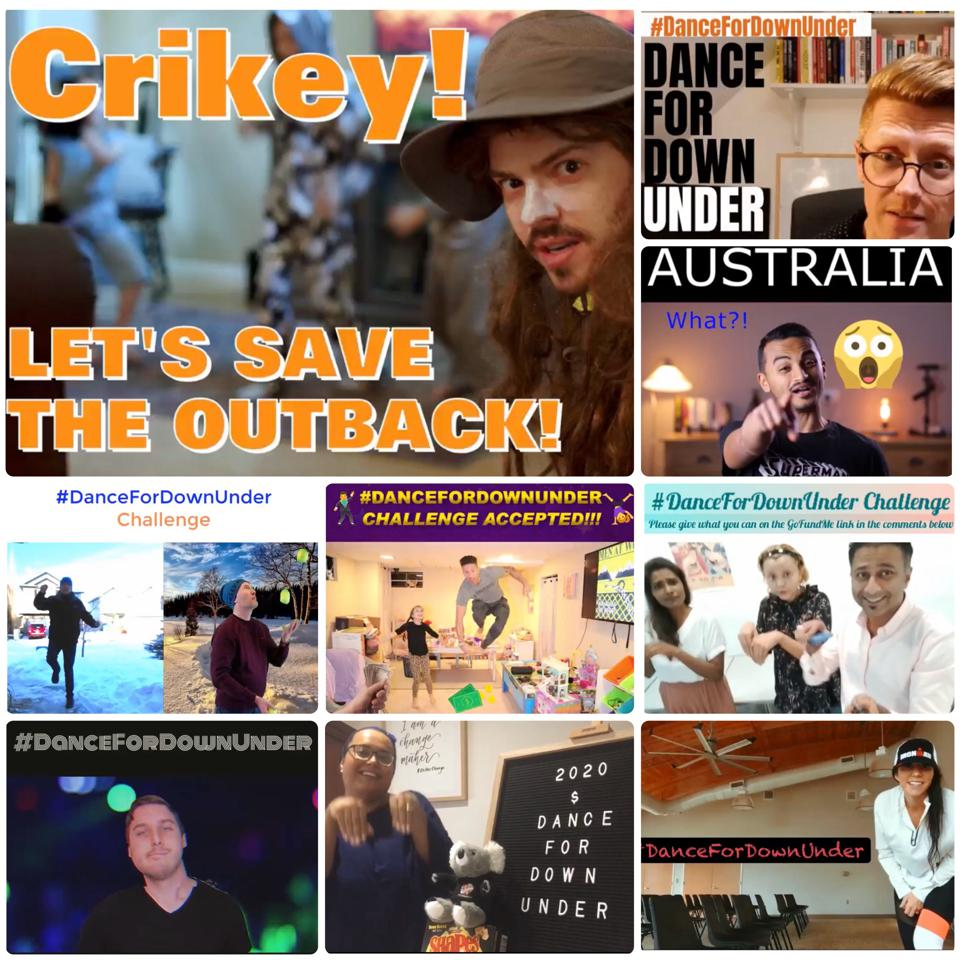 A sampling of the many videos created as part of the #DanceForDownUnder Challenge.