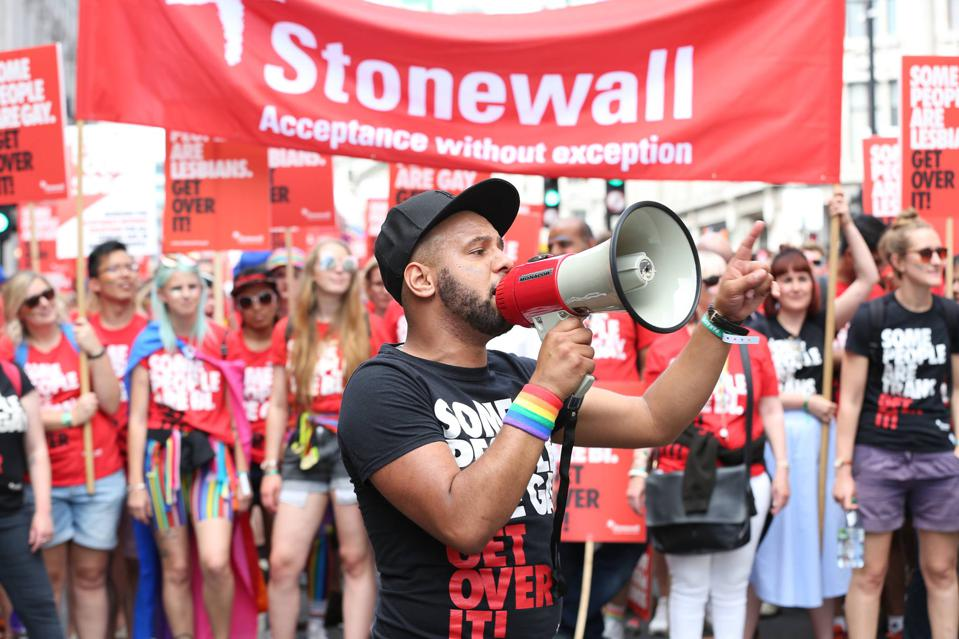 Lesbian, Gay, Bisexual and Trans charity Stonewall at a U.K. Pride March