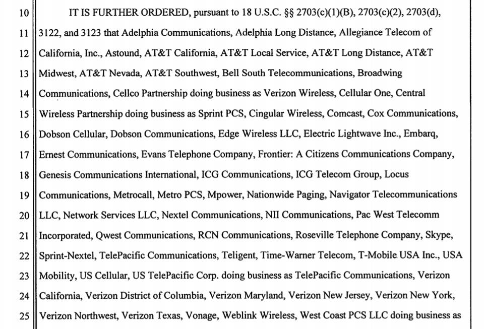 US telecoms companies ordered to provide personal information on a single phone number.