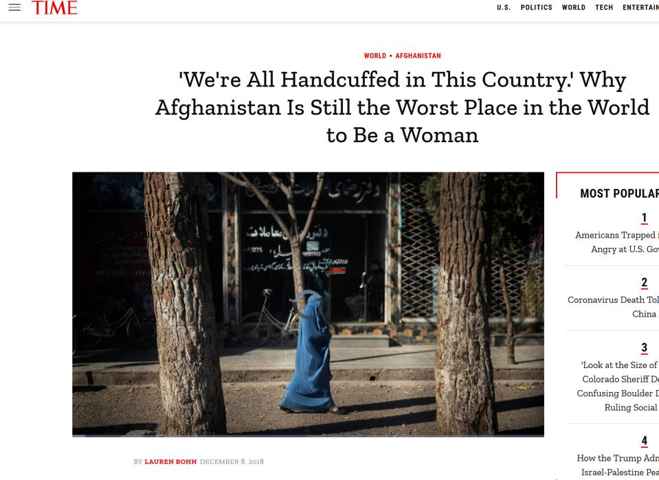 Screen shot of Time magazine article on Afghan women, December 2018