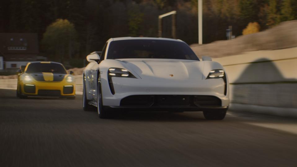 Porsche Taycan in The Heist Super Bowl commercial.