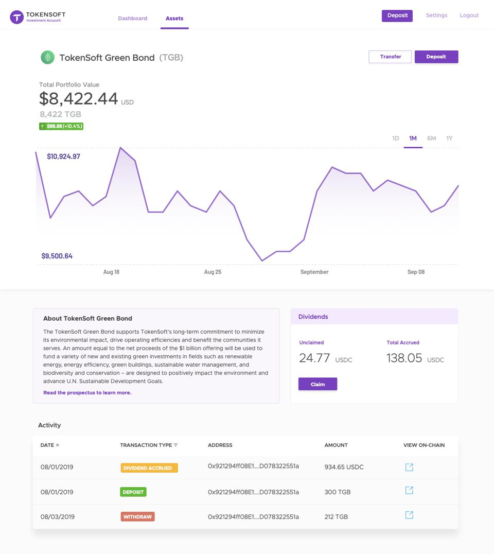 Screenshot From Tokensoft's Investment Account User Interface