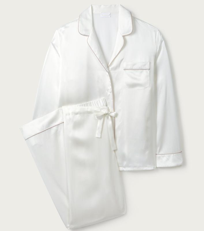 The White Company Silk Contrast Piped Pajama Set