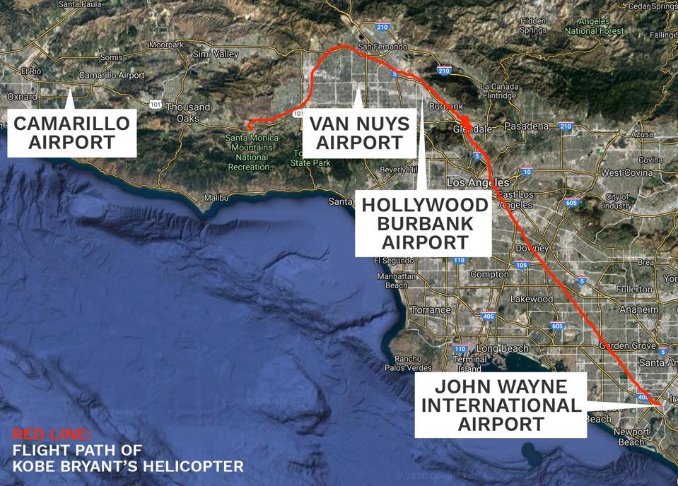 Kobe Bryant flight map