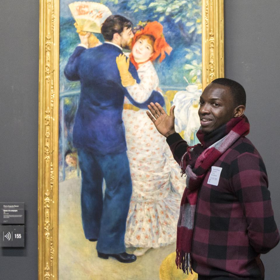 Ibrahima Conde during a training session at Musée d'Orsay and Musée et d'Orangerie with 2019 Top Idea Sama for All, a refugee-led charity that trains newcomers as art interpreters.