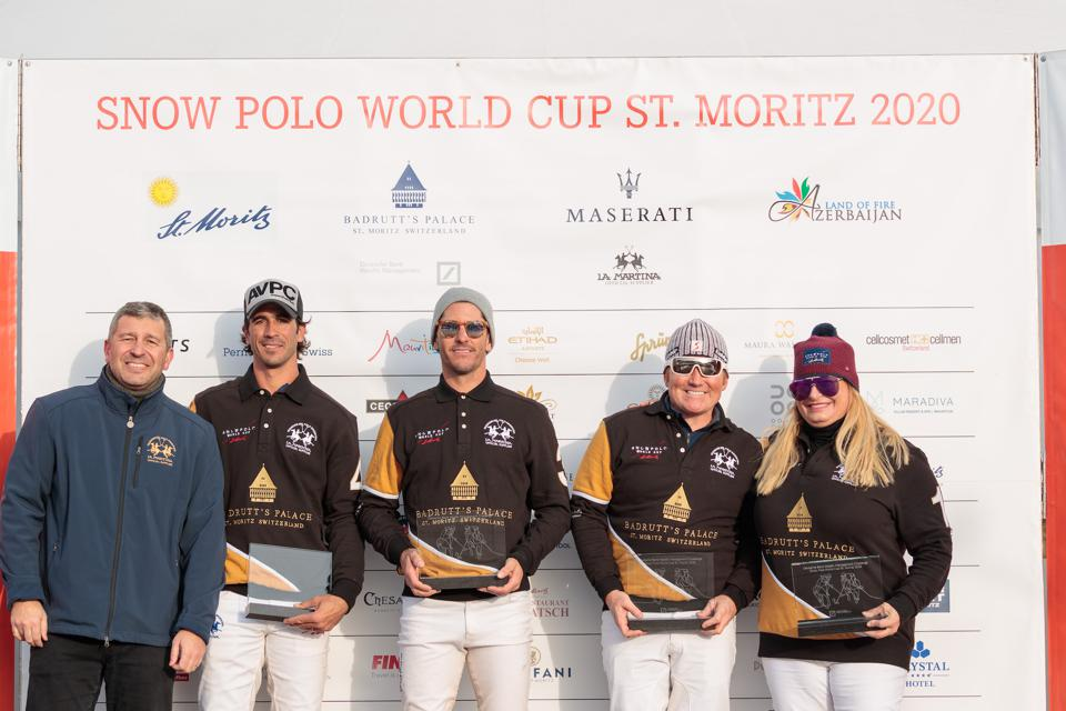 Team Badrutt's Palace Hotel consisted of players included Juan Bautista Peluso, Nic Roldan (second from left), Alejandro Novillo Astrada, Marc Ganzi (third from left) and Melissa Ganzi (far right).
