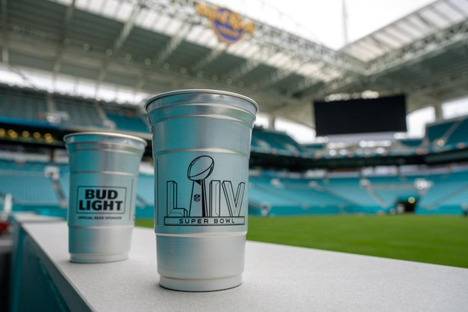 While the focus of Super Bowl LIV will be largely on the field, Hard Rock Stadium will be ramping up its sustainability efforts with aluminum cups designed to reduce waste.