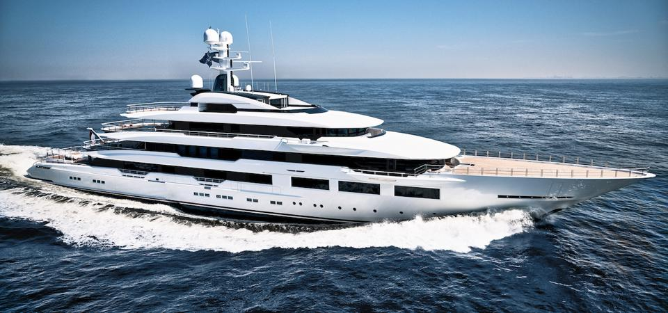 Home Depot billionaire Arthur Blank's 295-foot-long superyacht in Miami for the Super Bowl.