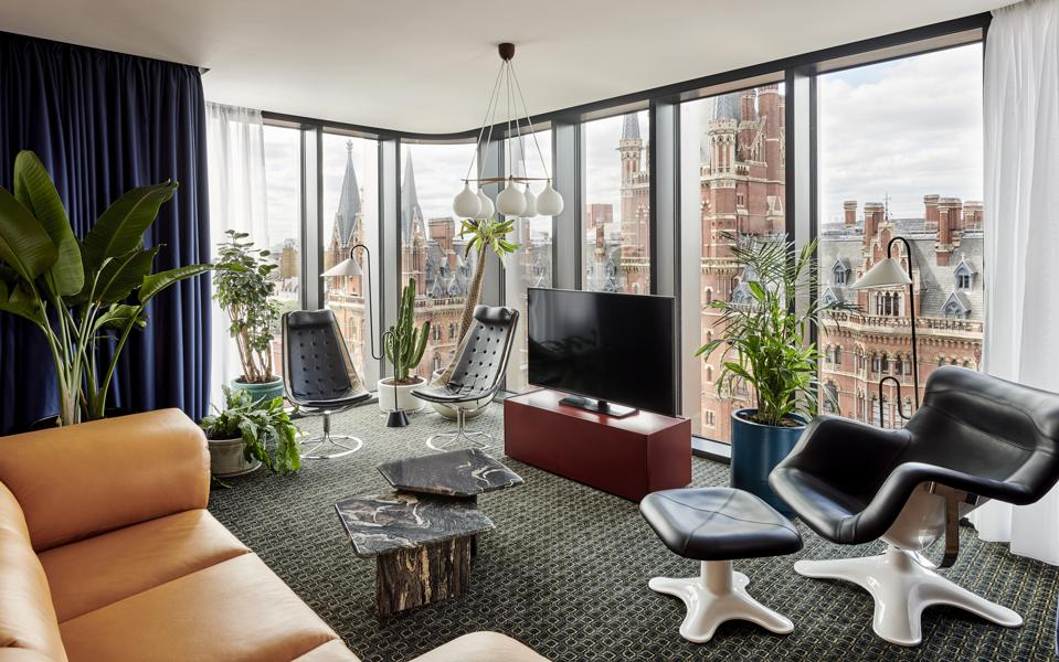 The interiors of the Standard Hotel in London have embraced 1970s design ethos.