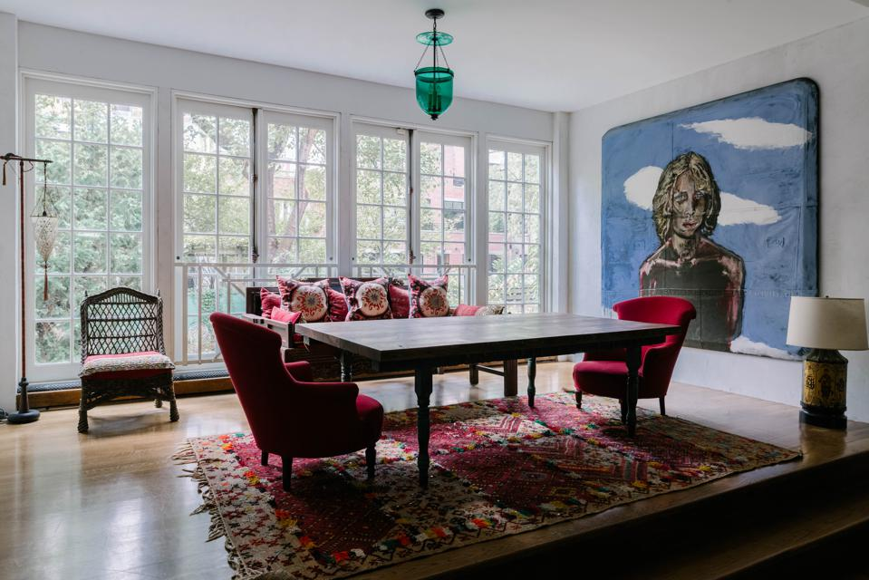 The dining room of a four-bedroom townhouse in Soho, New York