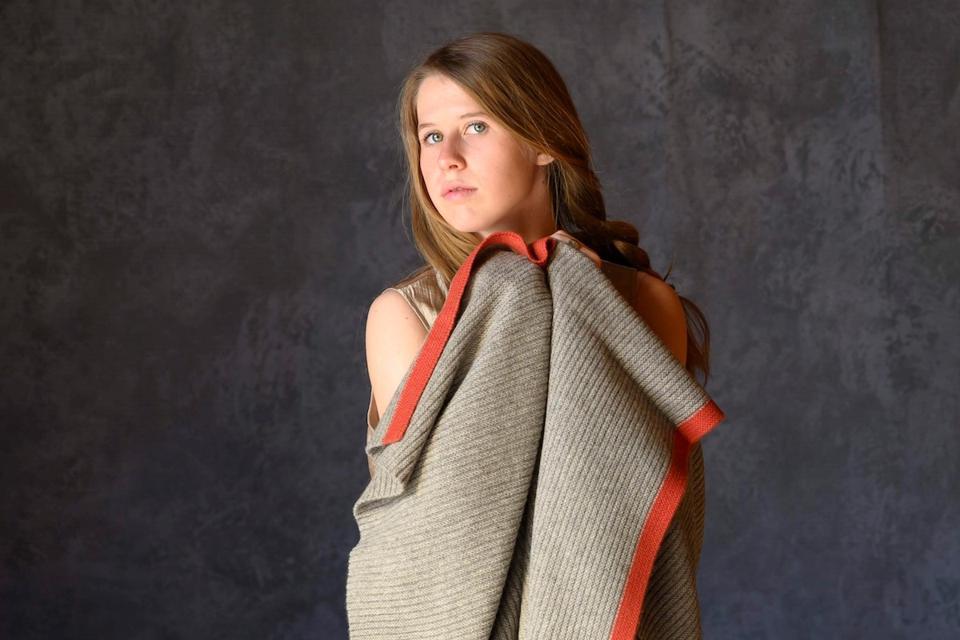 Platinum Diamond Lattice Knit Yak Down Throw from Hangai Mountain Textiles