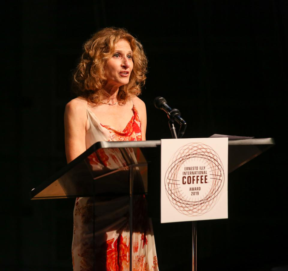 Joan Michelson Emceeing gala at Lincoln Center