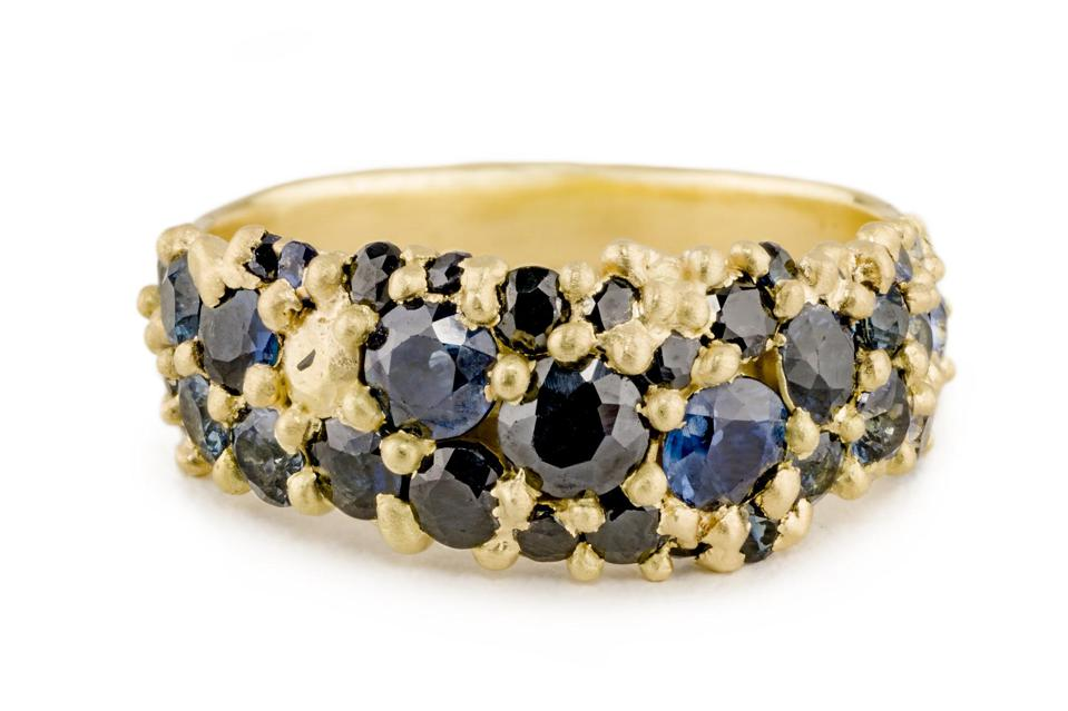 River ring by Polly Wales in Midnight Fade, gold with colored sapphires, $4,290