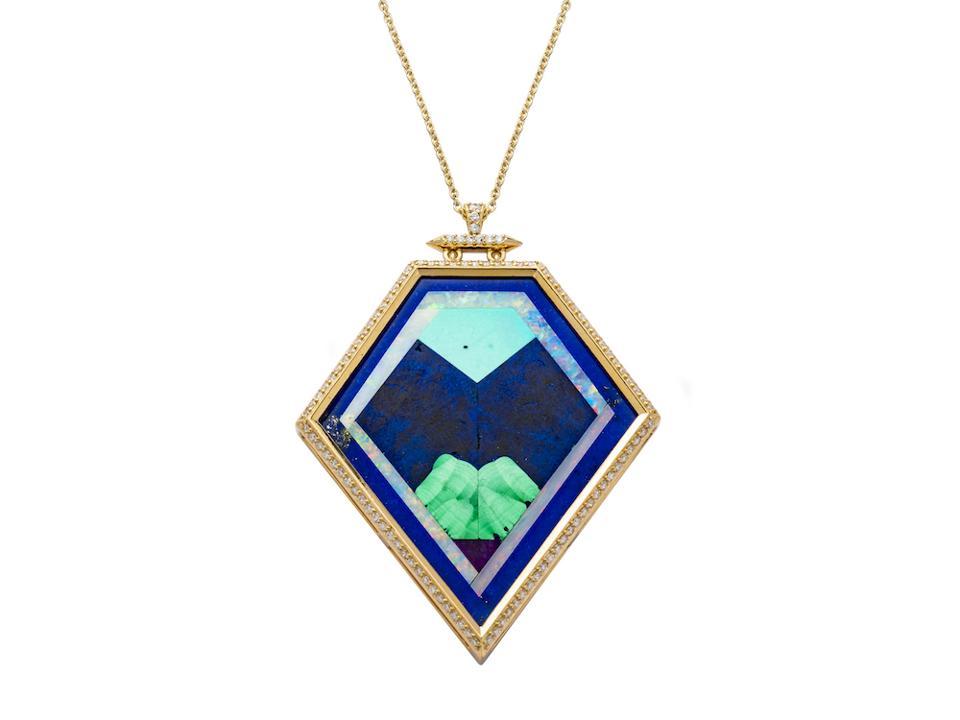 Magic Totem intarsia pendant by Jenny Dee, gold with turquoise, lapis lazuli, malachite, amethyst, opal and diamonds, $9,242