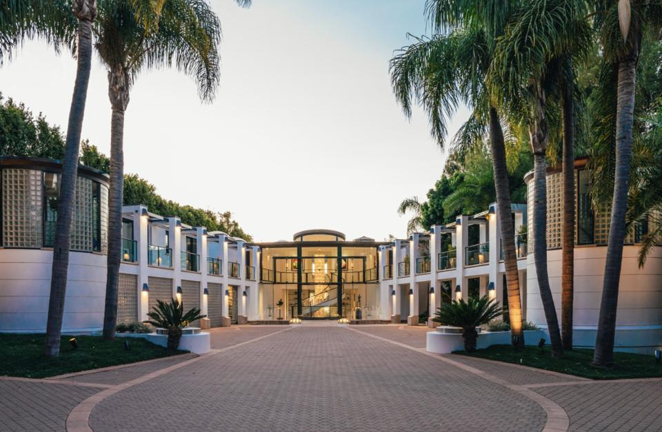 The entrance to the new $115 million listing in Malibu