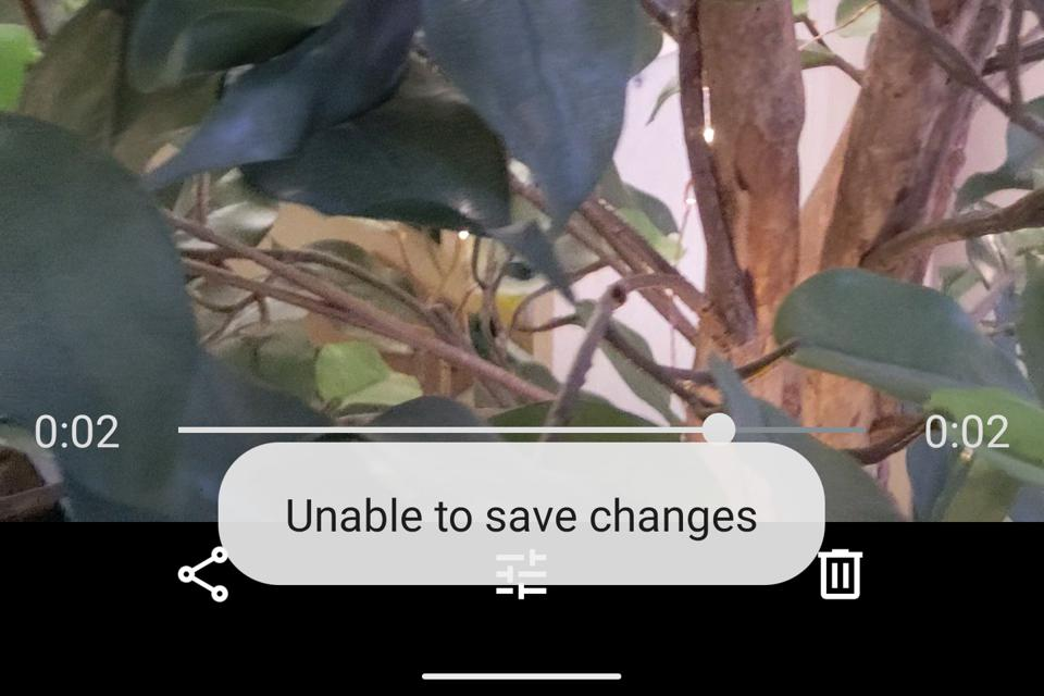 Screen grab showing error message, 'Unable to save changes'