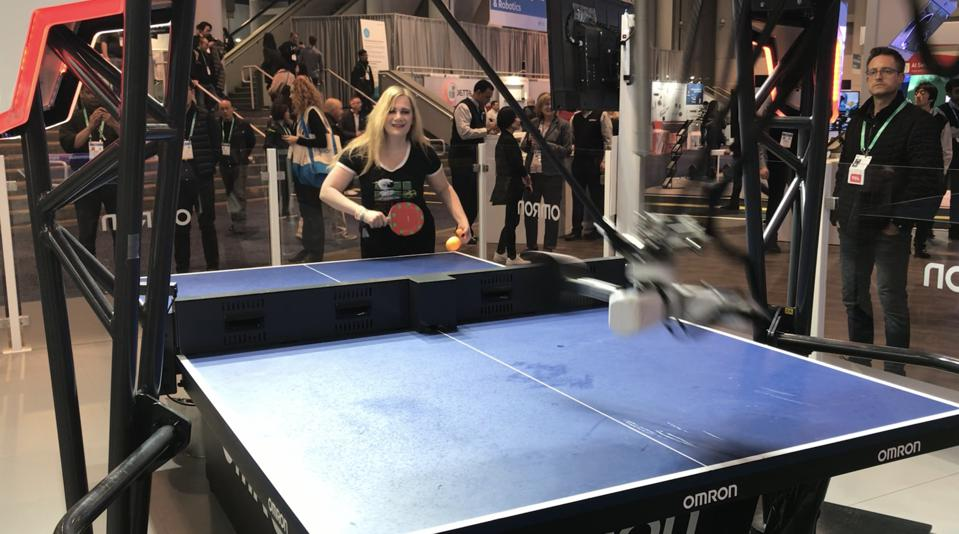 Martine Paris playing OMRON's FORPHEUS at CES 2020