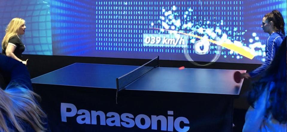 Martine Paris testing Panasonic's motion tracking ping pong