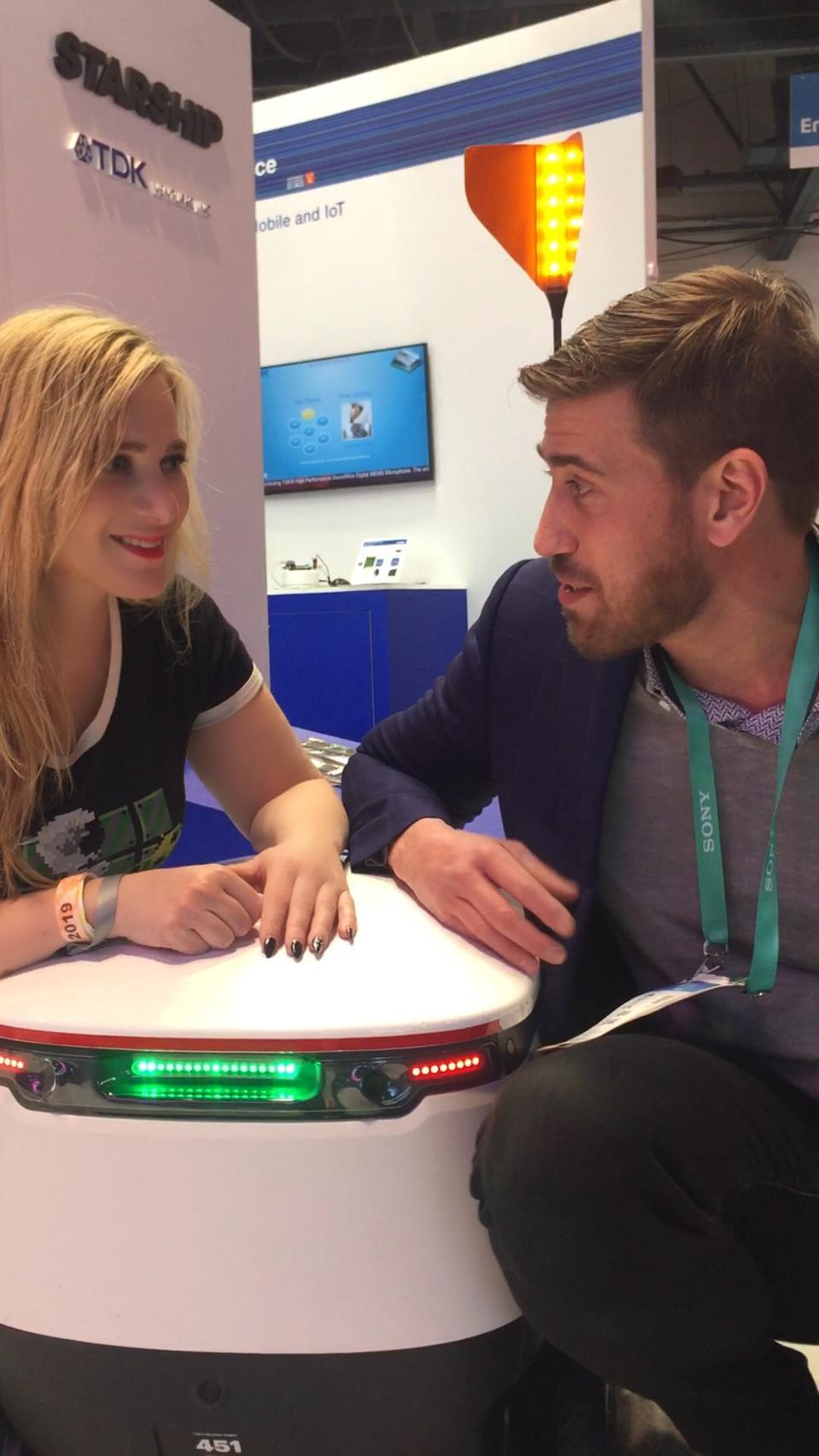 Martine Paris with Starship Technologies' Sean Eckhard
