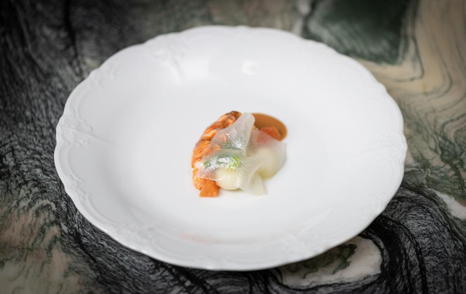 Spiny lobster with turnip, citrus, and vanilla.