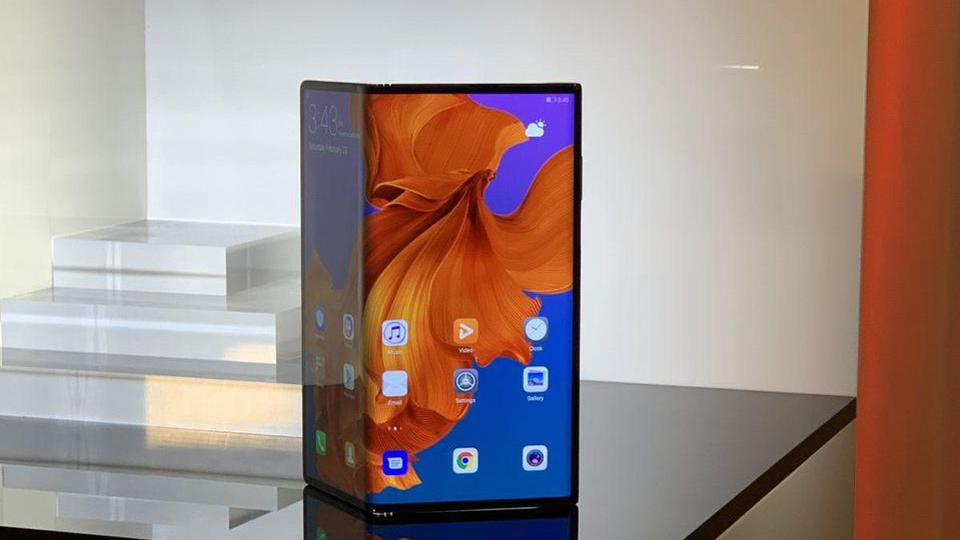 The Huawei Mate X, unveiled for the first time at Mobile World Congress 2019.