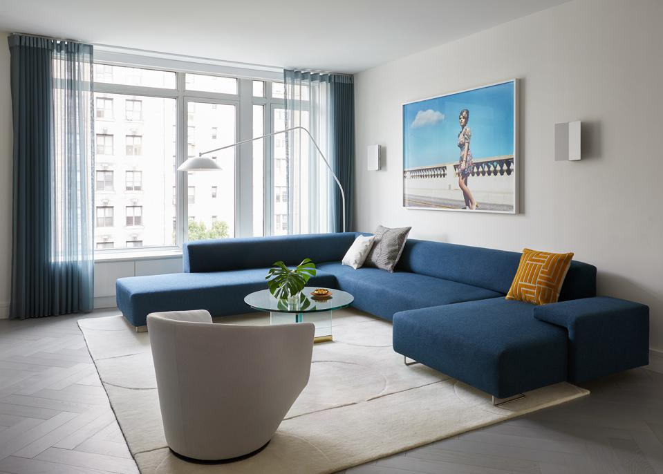 Designed by Frederick Tang Architecture, the Berger family's newly renovated living room.