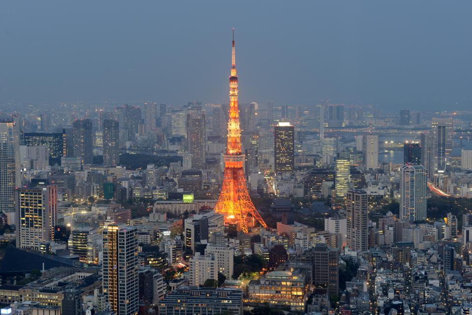 Aerial view of Tokyo and its Tower