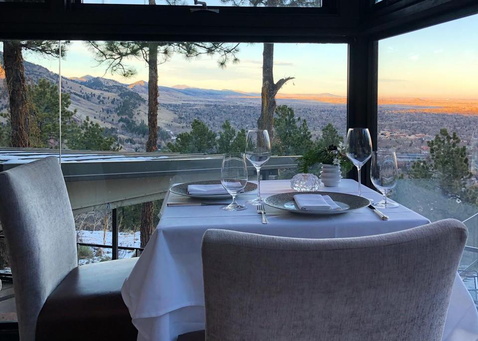 The corner table at the Flagstaff House provides a special mountain view above Boulder, Colorado.