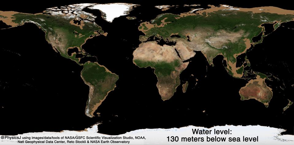 Example of the sea level during the Last Glacial Maximum.
