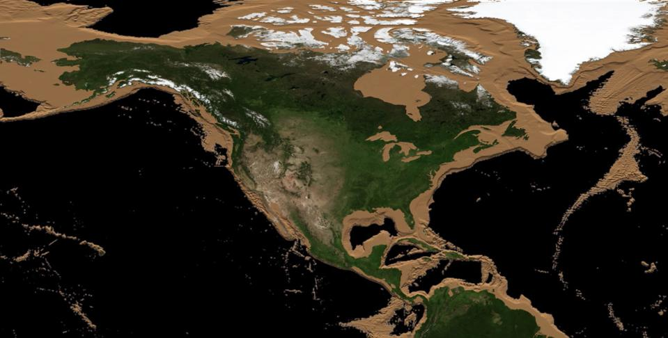 Schematic of the land revealed around North America if sea levels were to drop 2,500+ meters.