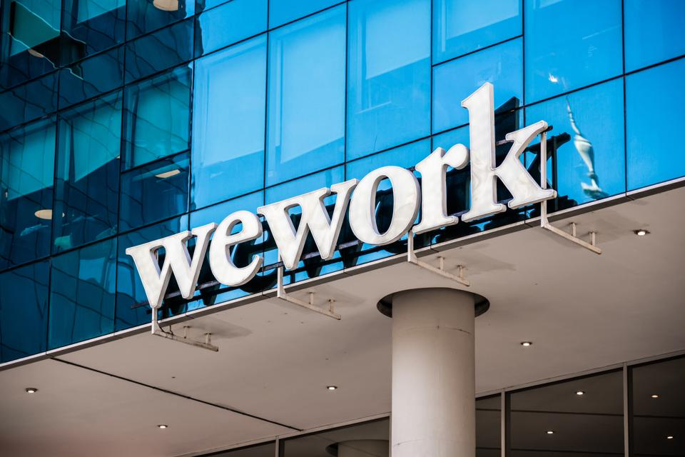 WeWork logo seen in Buenos Aires.  An American commercial...