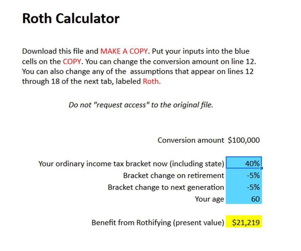 Roth Calculator