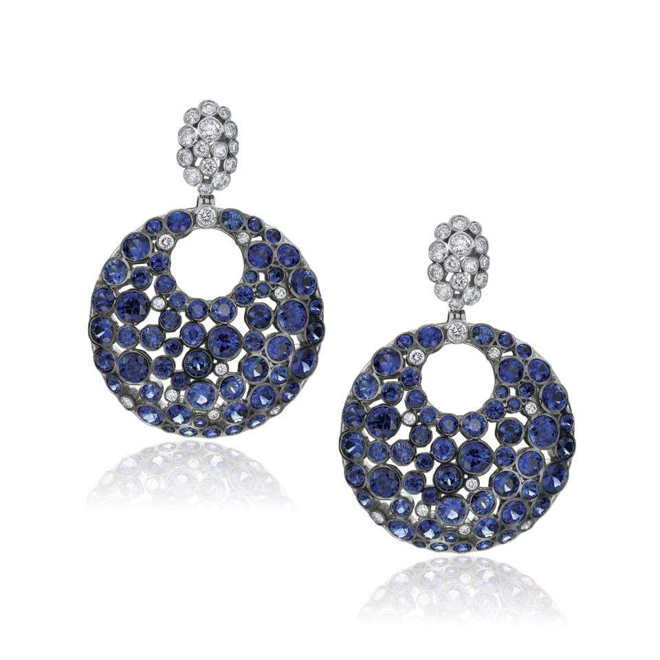 Gumuchian sapphire and diamond drop earrings