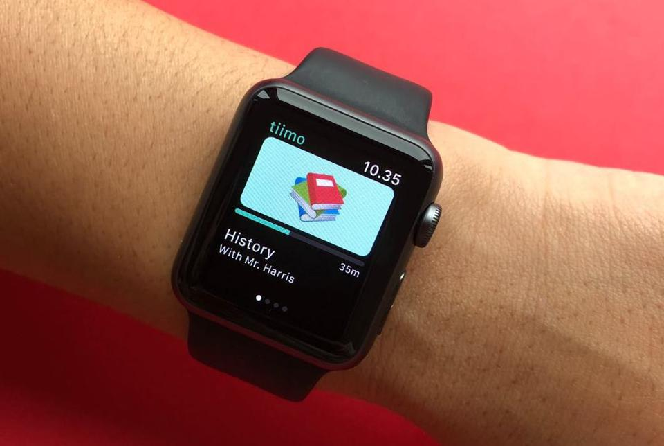 The Tiimo app being used on an Apple Watch.
