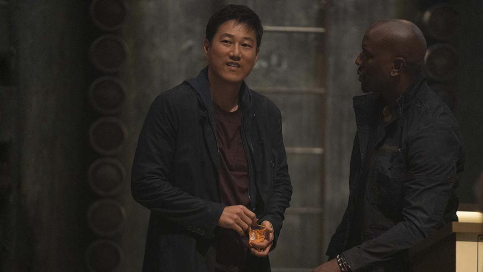 (from left) Han (Sung Kang) and Roman (Tyrese Gibson) in ″F9,″ directed by Justin Lin.