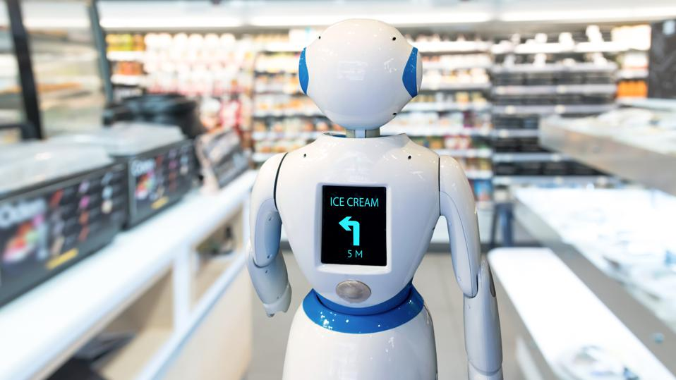 A robot that helps shoppers find products in a store.