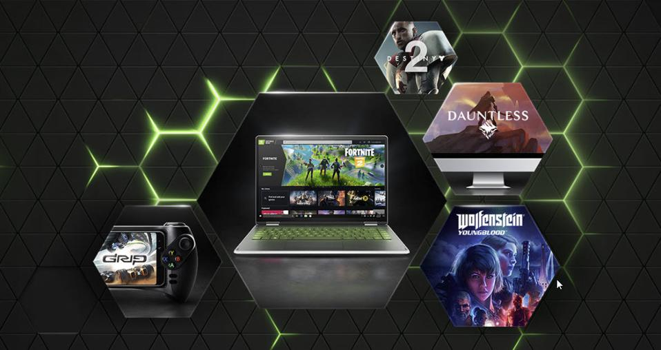 Laptop with images of games offered through GeForce Now