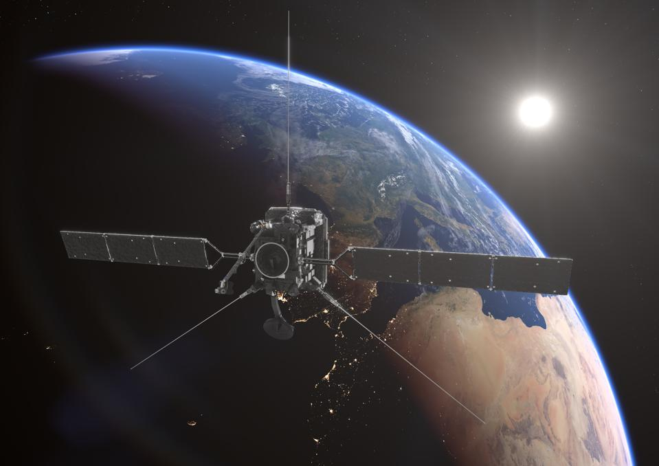 Artist's impression of Solar Orbiter making a flyby at Earth.