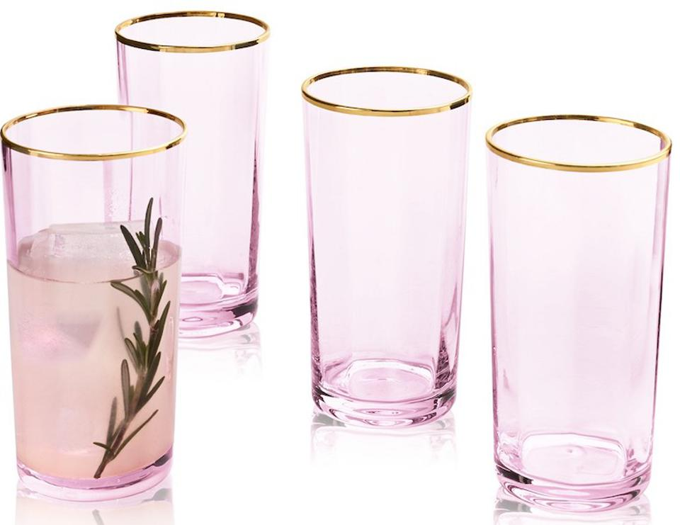Martha Stewart Collection Blush Highball Glasses.