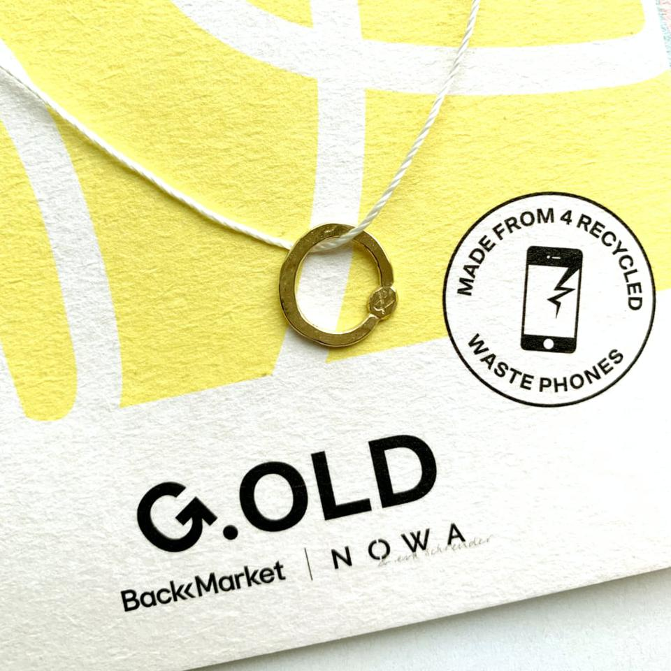 A pendant in the G.OLD jewelry line, with gold from recycled phones.