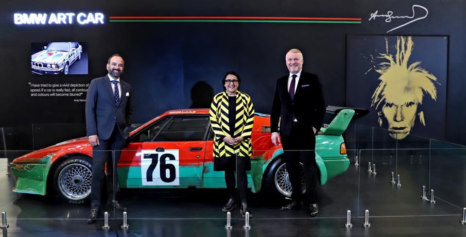 Rudratej Singh, President and CEO, BMW Group India with Jagdip Jagpal, Fair Director, India Art Fair and Dr. Thomas Girst, Head of Cultural Engagement, BMW Group