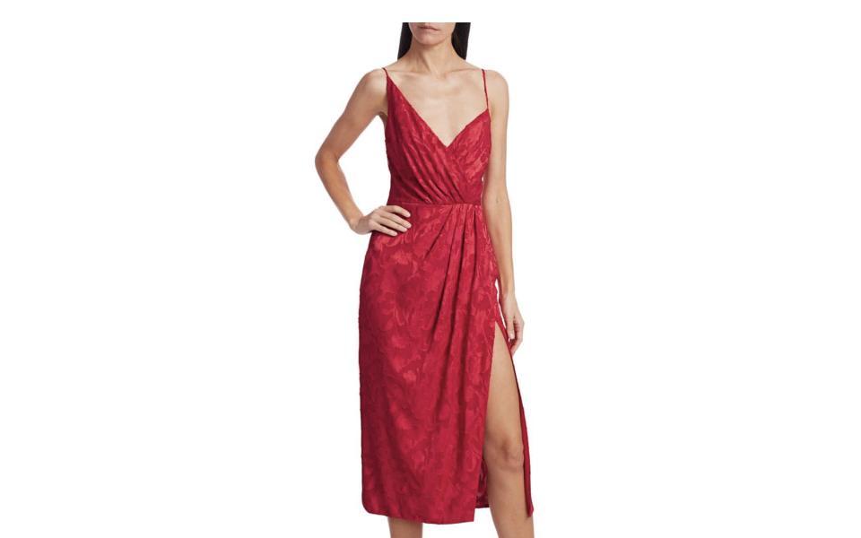 ML Monique Lhuillier Foulard Print Asymmetrical Midi Dress