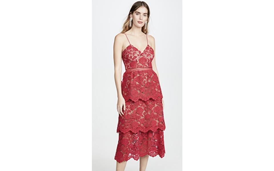 Self Portrait Flower Lace Midi Dress