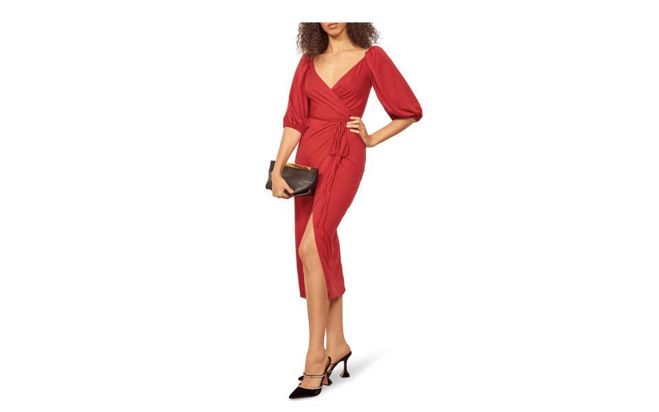 Reformation Calabra Wrap Dress