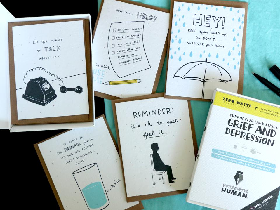Six different Thoughtful Human cards about depression and grief.