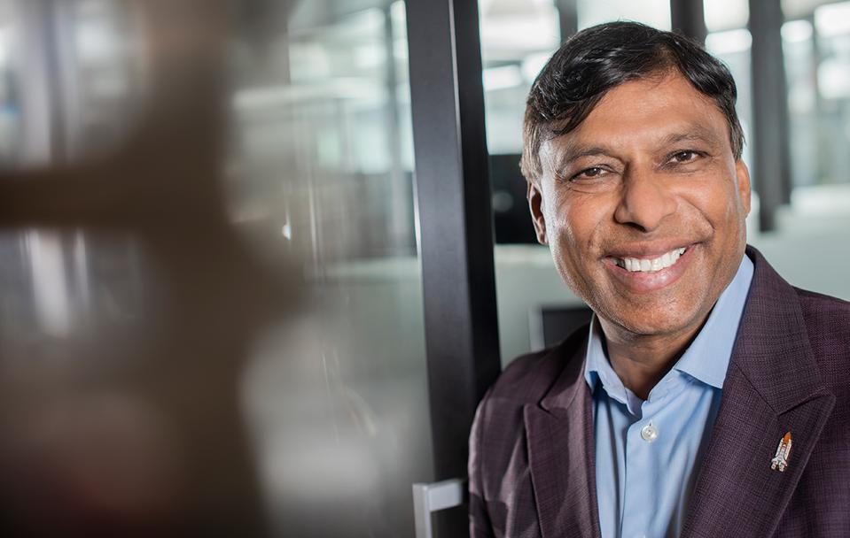 "Medicine Show Viome founder Naveen Jain at company headquarters in a Bellevue, Washington,  WeWork space. ""The goal is to scientifically show that it's not voodoo stuff or a placebo."""