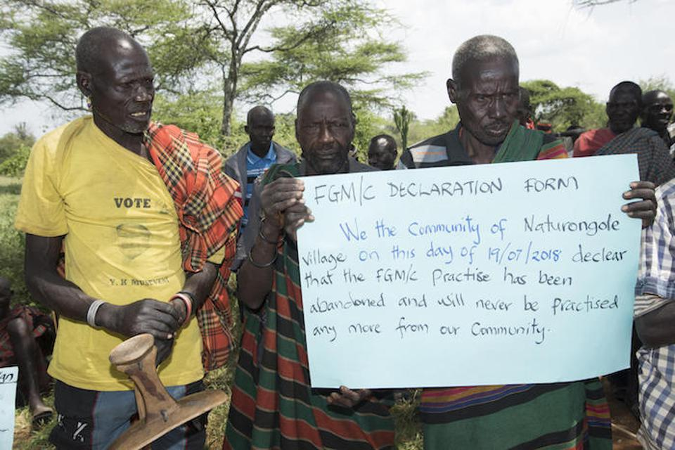 After a UNICEF-supported training in 2018, residents of Naturongole, in Uganda's Moroto district, announced that female genital mutilation would no longer be permitted in their village.