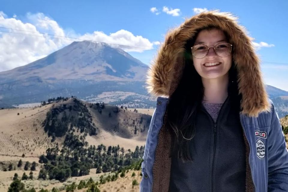 Colombian scientist Camila Rodríguez-Gómez, at the meterological station Altzomoni, between the volcanoes Popocatepetl Iztaccíhuatl, 60kms from Mexico City.  Credit: Camila Rodríguez-Gómez
