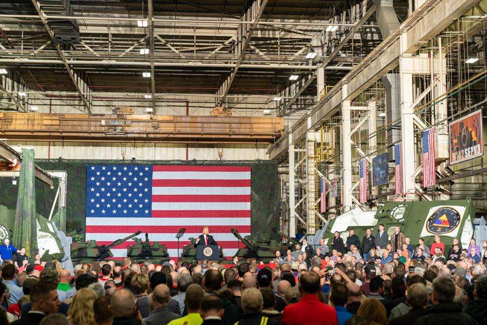 Tank, plant, American flag, president