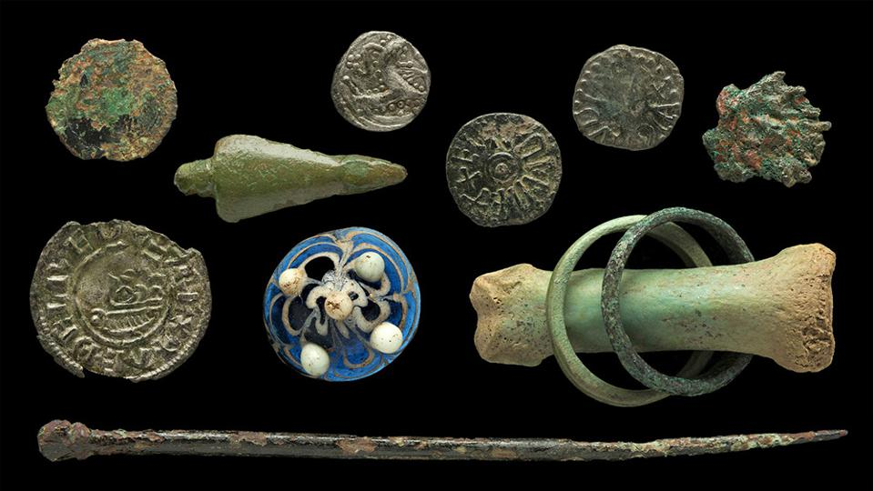 Coins and other items from the Viking Age found on Lindisfarne.